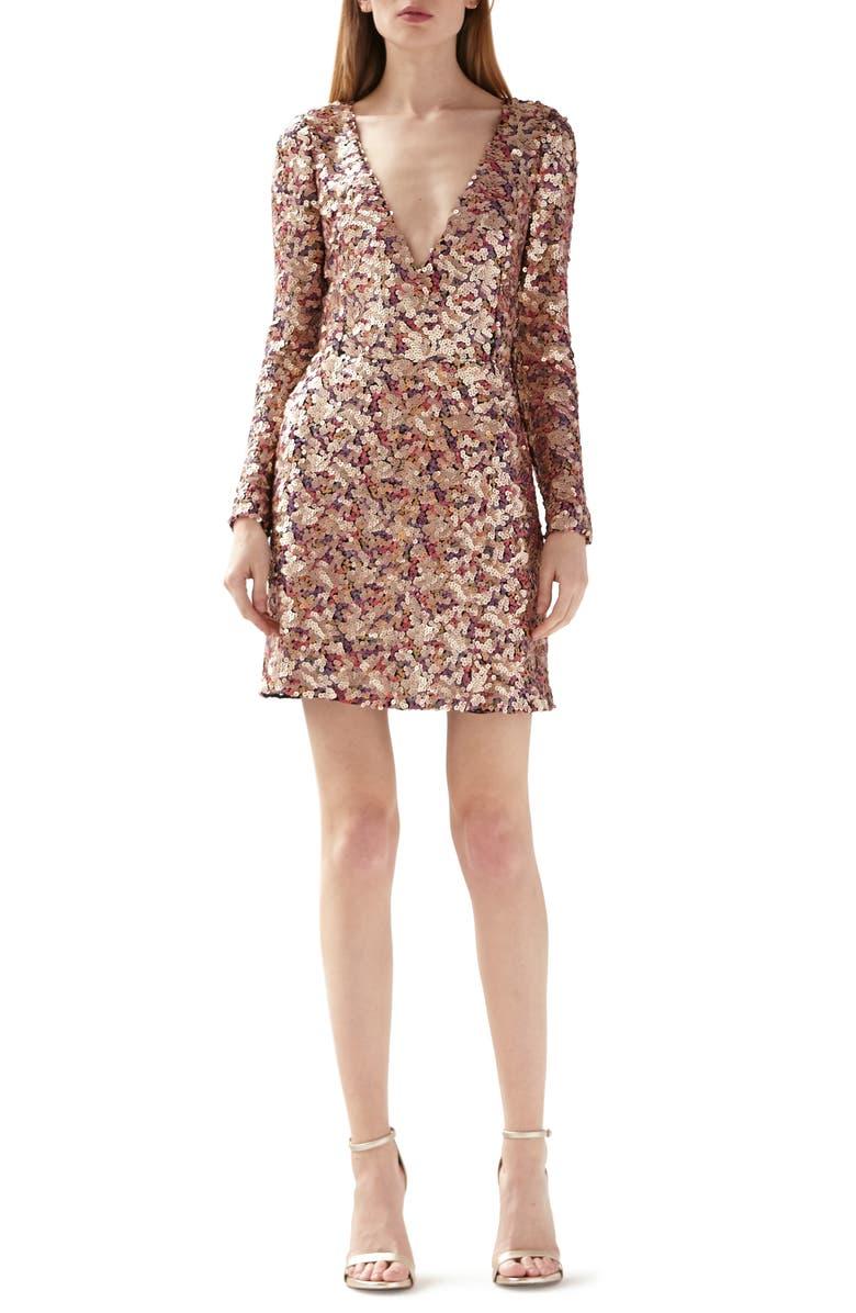 ML MONIQUE LHUILLIER Multicolor Sequin Long Sleeve Dress, Main, color, GOLD MULTI