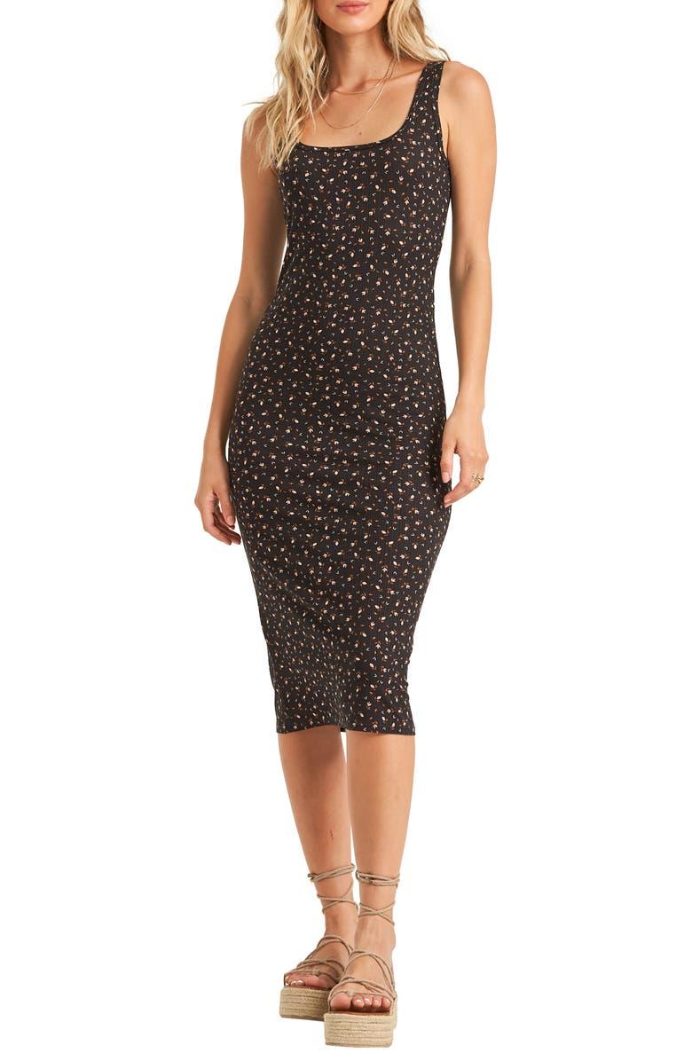 BILLABONG Share More Joy Midi Dress, Main, color, BLACK/ BROWN