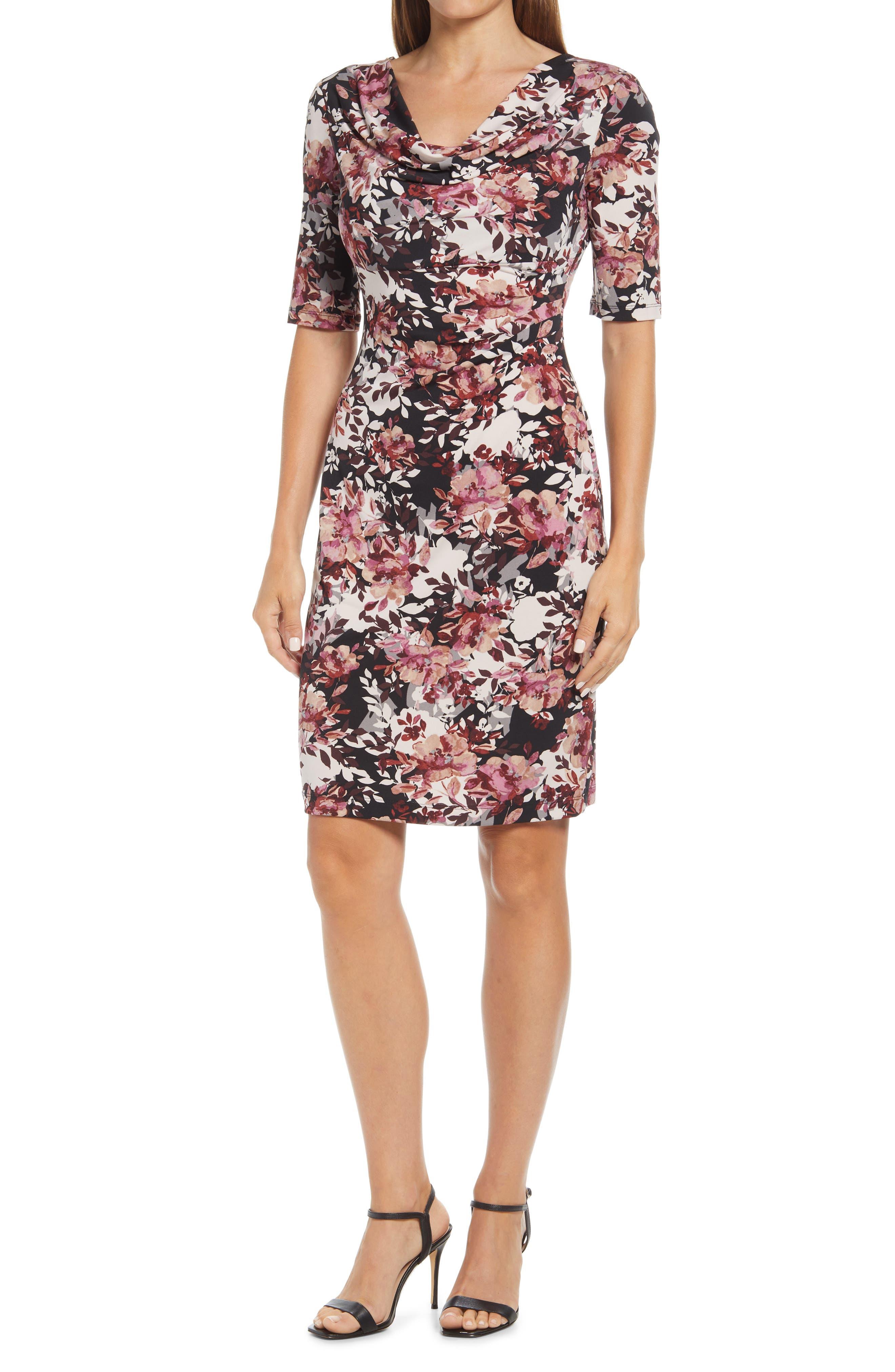 Drape Neck Floral Stretch Knit Dress
