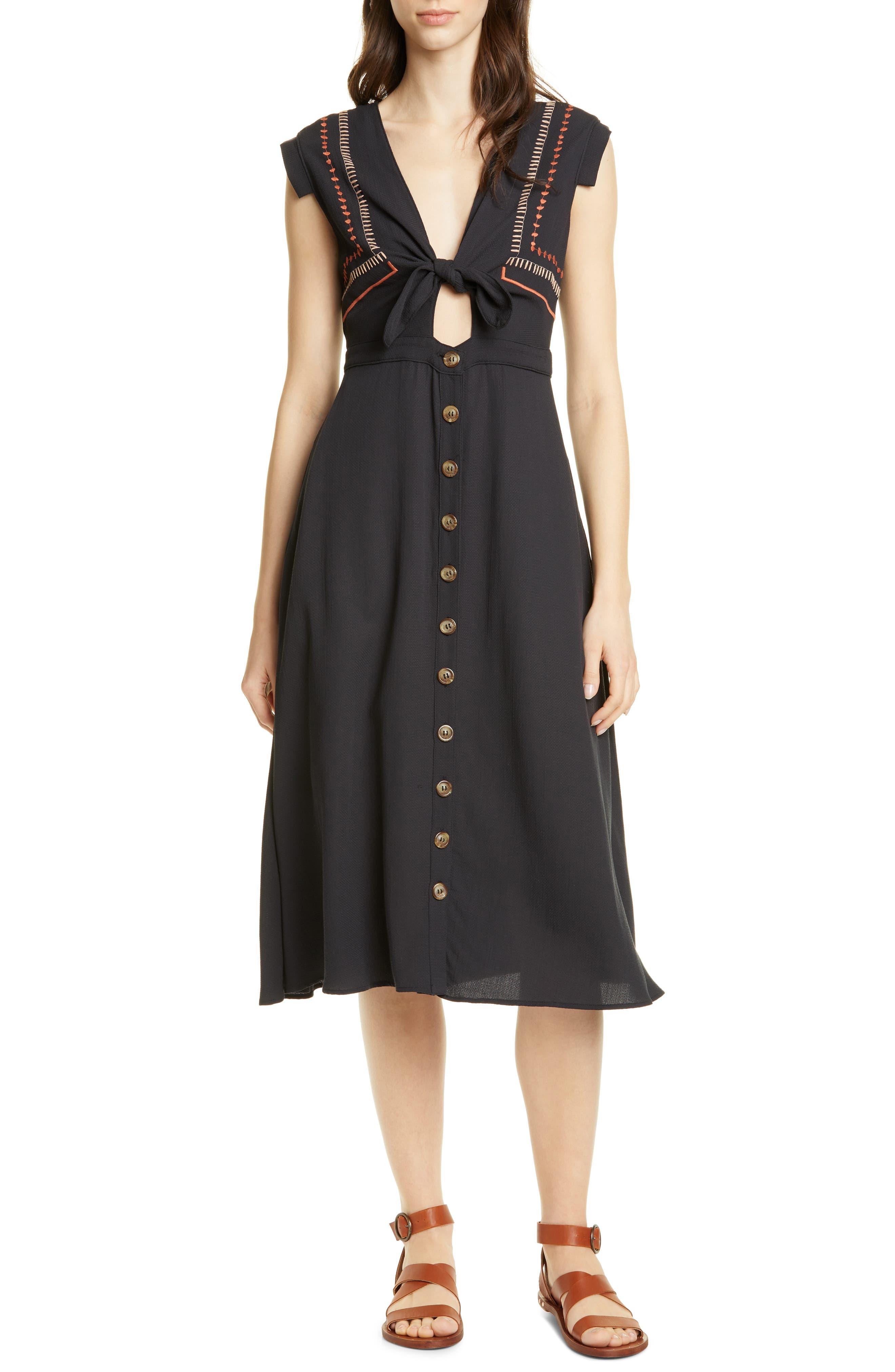 Dolan Morgan Knot Front Midi Dress, Black