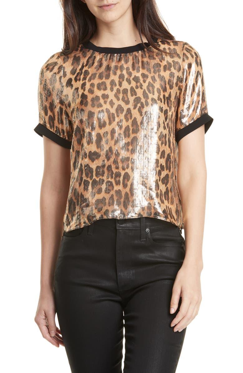 ALICE + OLIVIA Piera Leopard Print Silk Blend Tee, Main, color, SPOTTED LEOPARD DARK TAN