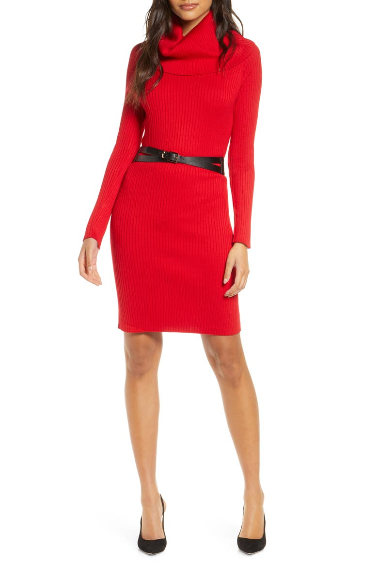DONNA RICCO Cowl Neck Belted Long Sleeve Sweater Dress, Main, color, RED