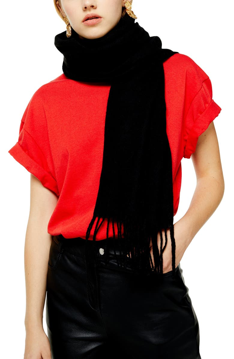 TOPSHOP Supersoft Scarf, Main, color, BLACK