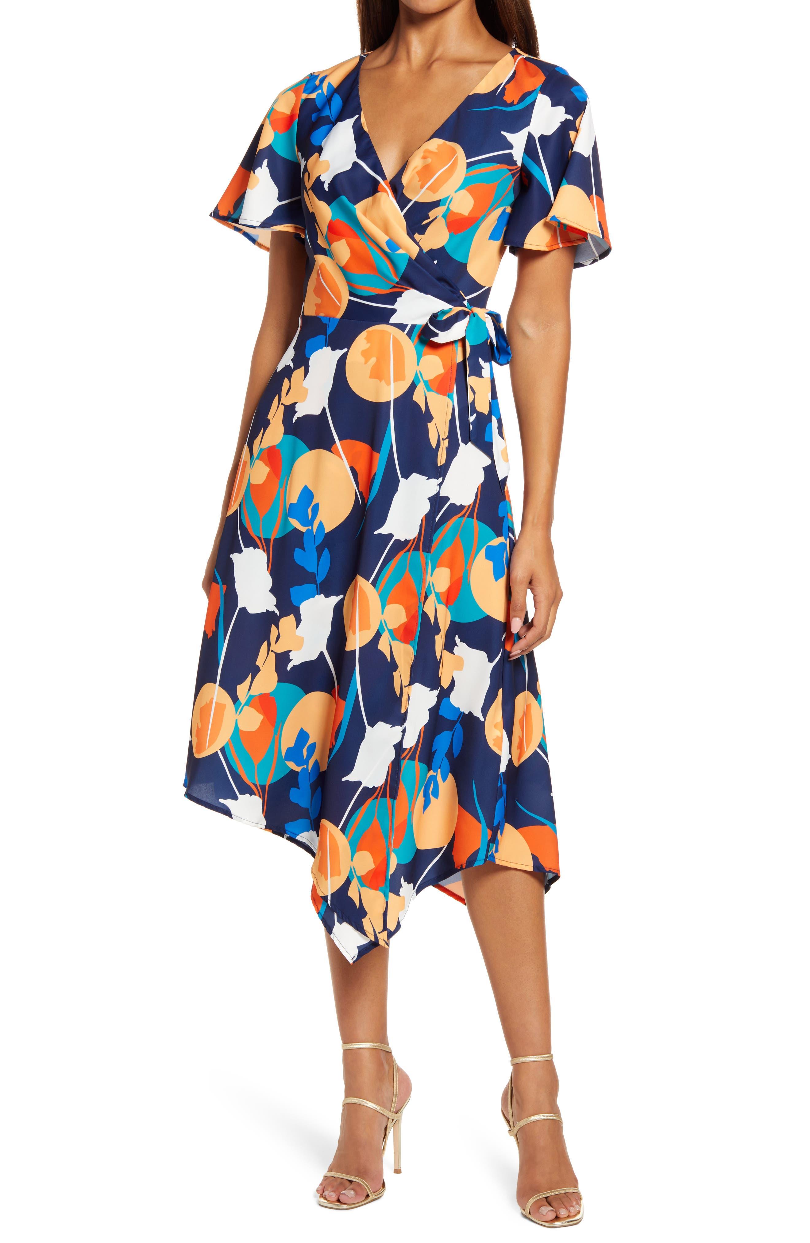 Abstract Print Wrap Dress