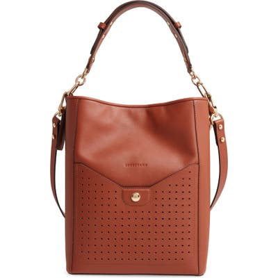 Longchamp Mademoiselle Perforated Calfskin Leather Bucket Bag - Brown