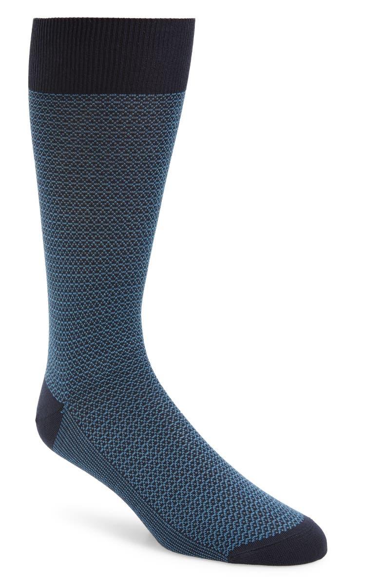 NORDSTROM SIGNATURE Jacquard Socks, Main, color, BLUE/ NAVY
