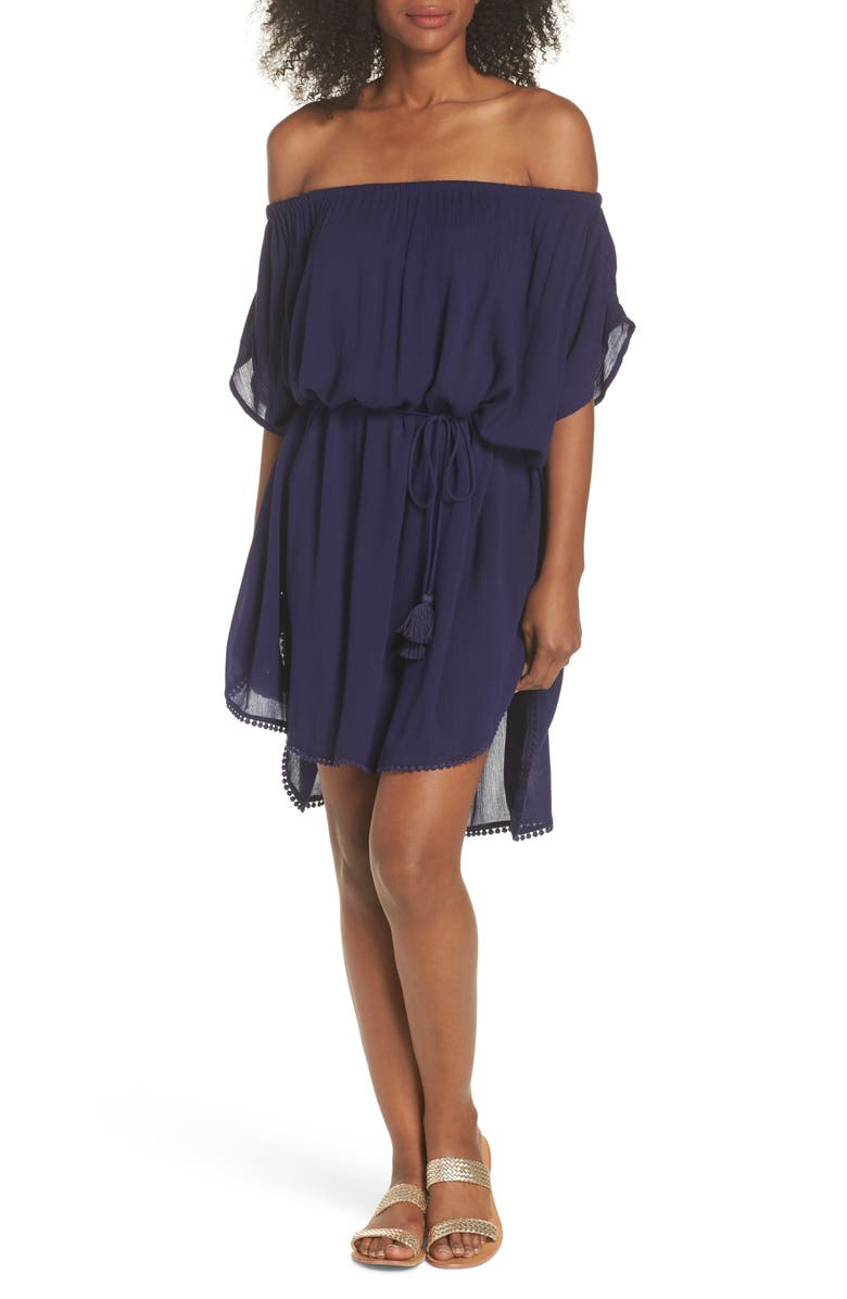 ECHO Seaside Cover-Up Dress, Main, color, NAVY