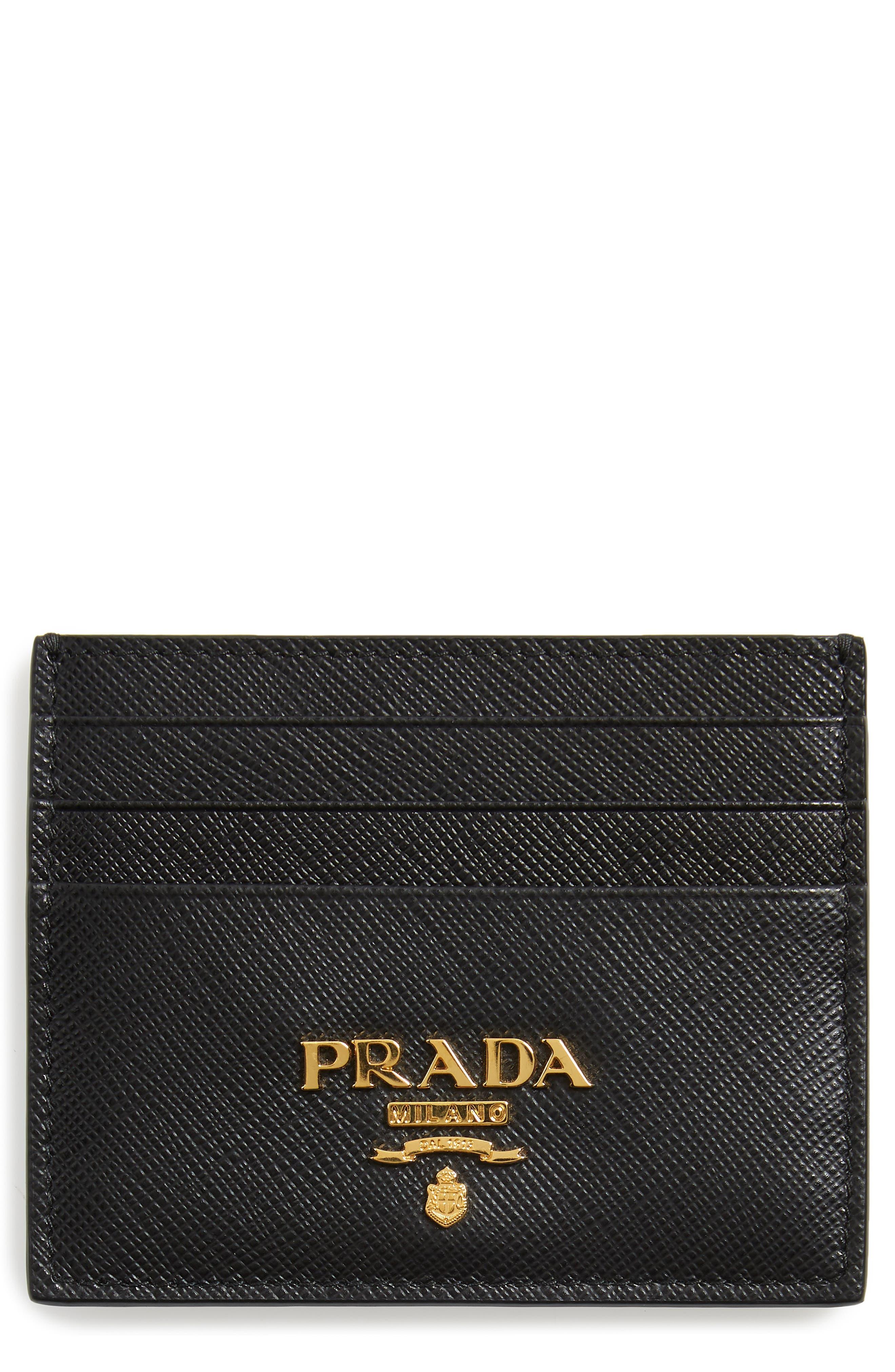 ,                             Saffiano Metal Oro Leather Card Case,                             Main thumbnail 1, color,                             NERO