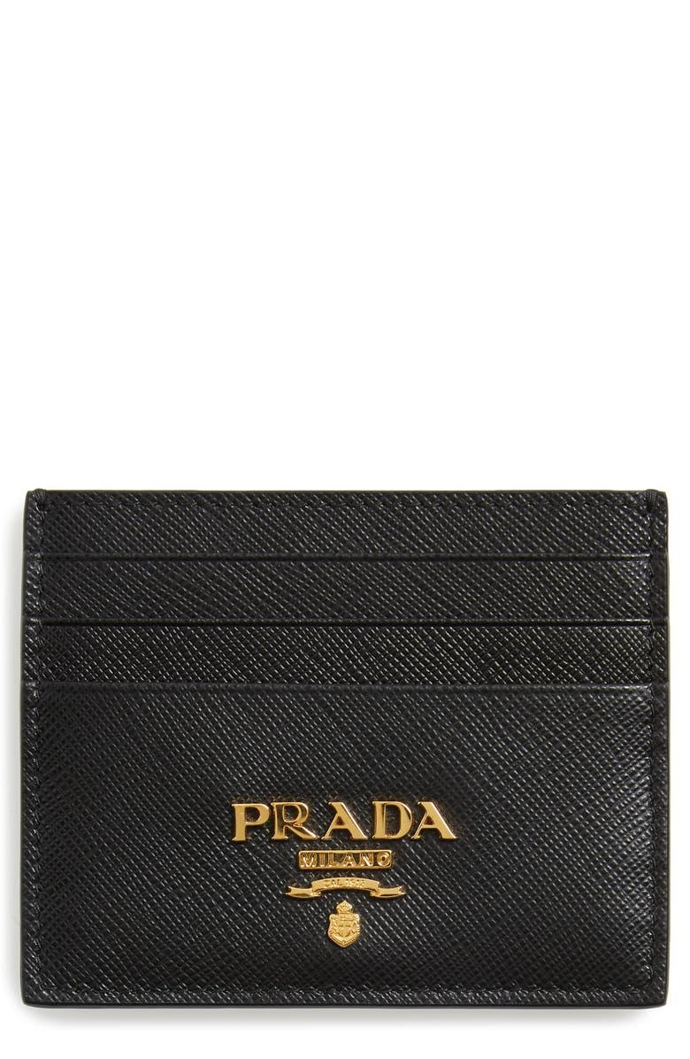 PRADA Saffiano Metal Oro Leather Card Case, Main, color, NERO