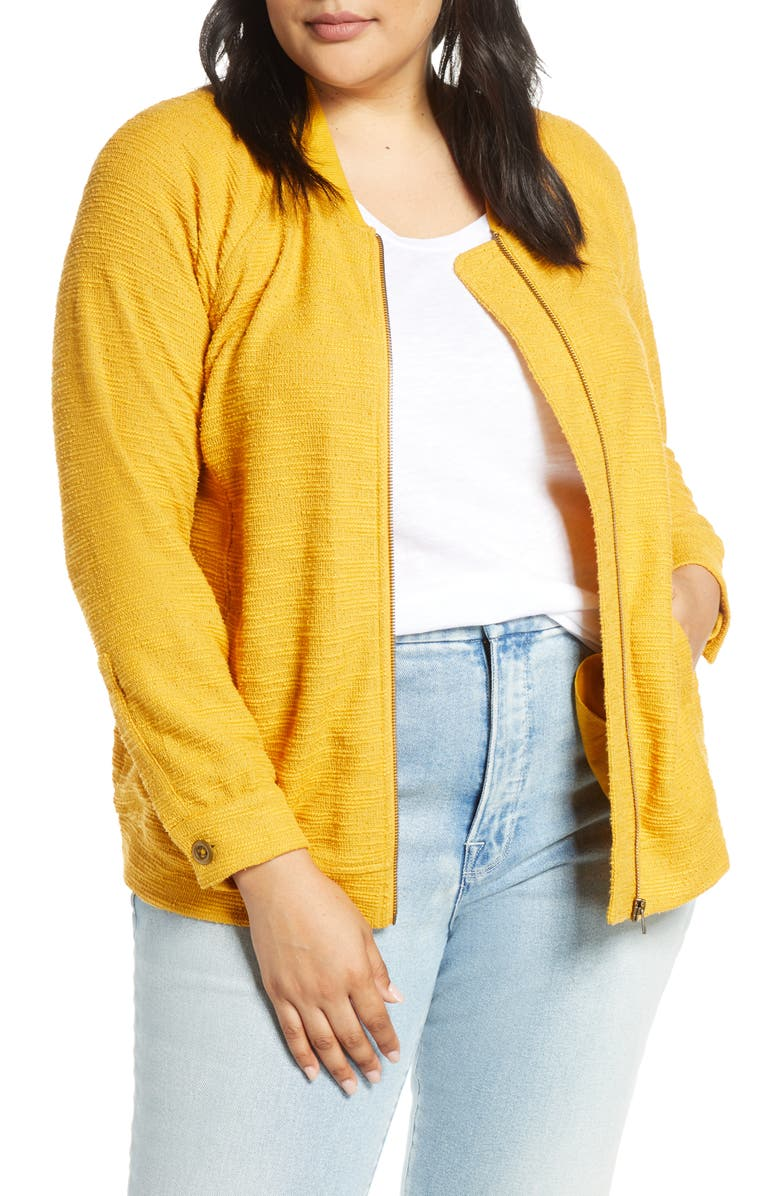 CASLON<SUP>®</SUP> Knit Bomber Jacket, Main, color, YELLOW MINERAL