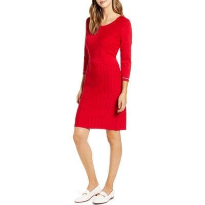 Tommy Hilfiger Chevron Rib Sweater Dress, Red