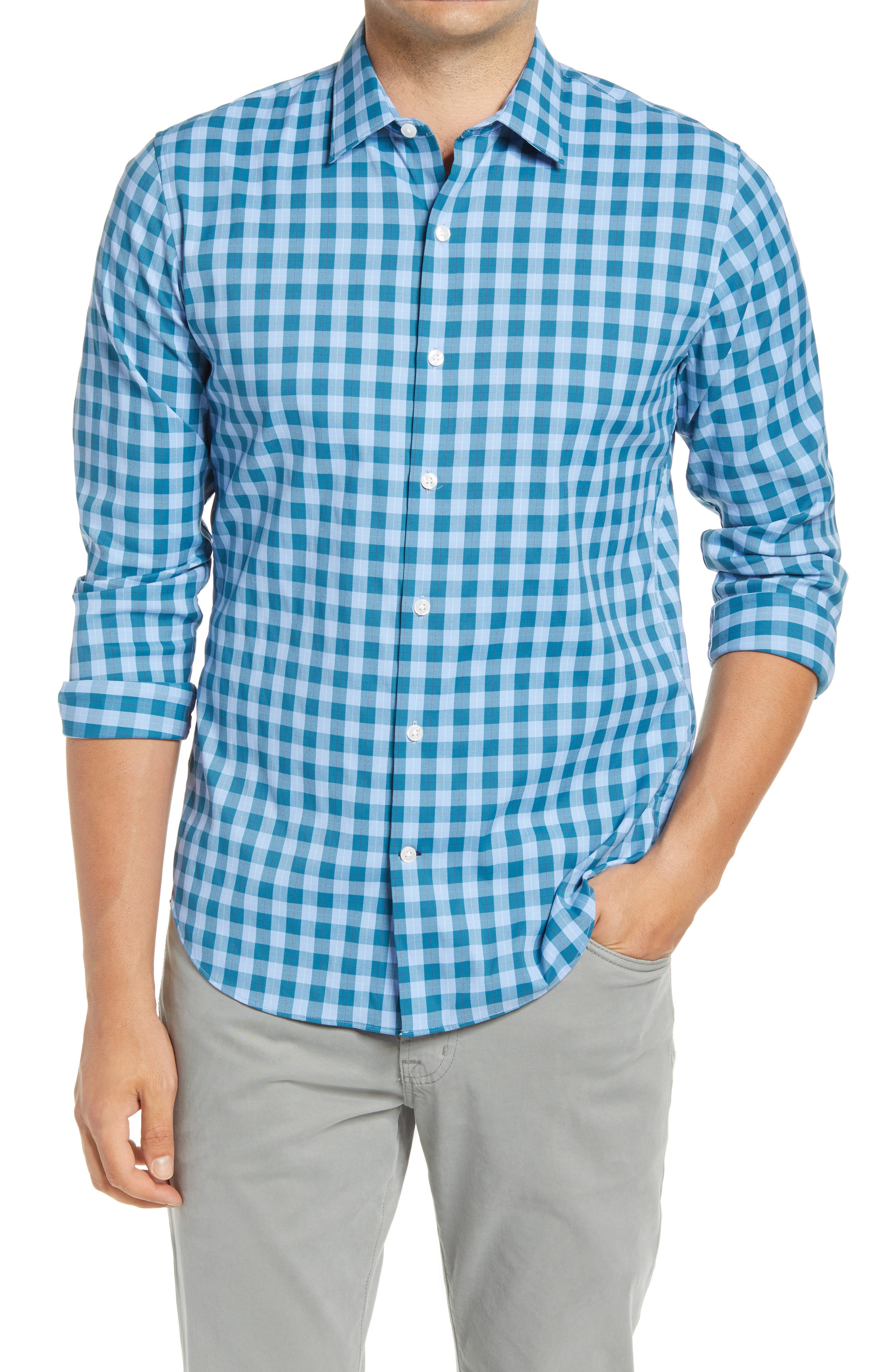 Because you\\\'ve got better things to think about, this sport shirt flexes to your moves, wicks moisture and resists wrinkles to keep you looking sharp all day. Style Name: Bonobos Slim Fit Check Tech Button-Up Shirt. Style Number: 6091973. Available in stores.