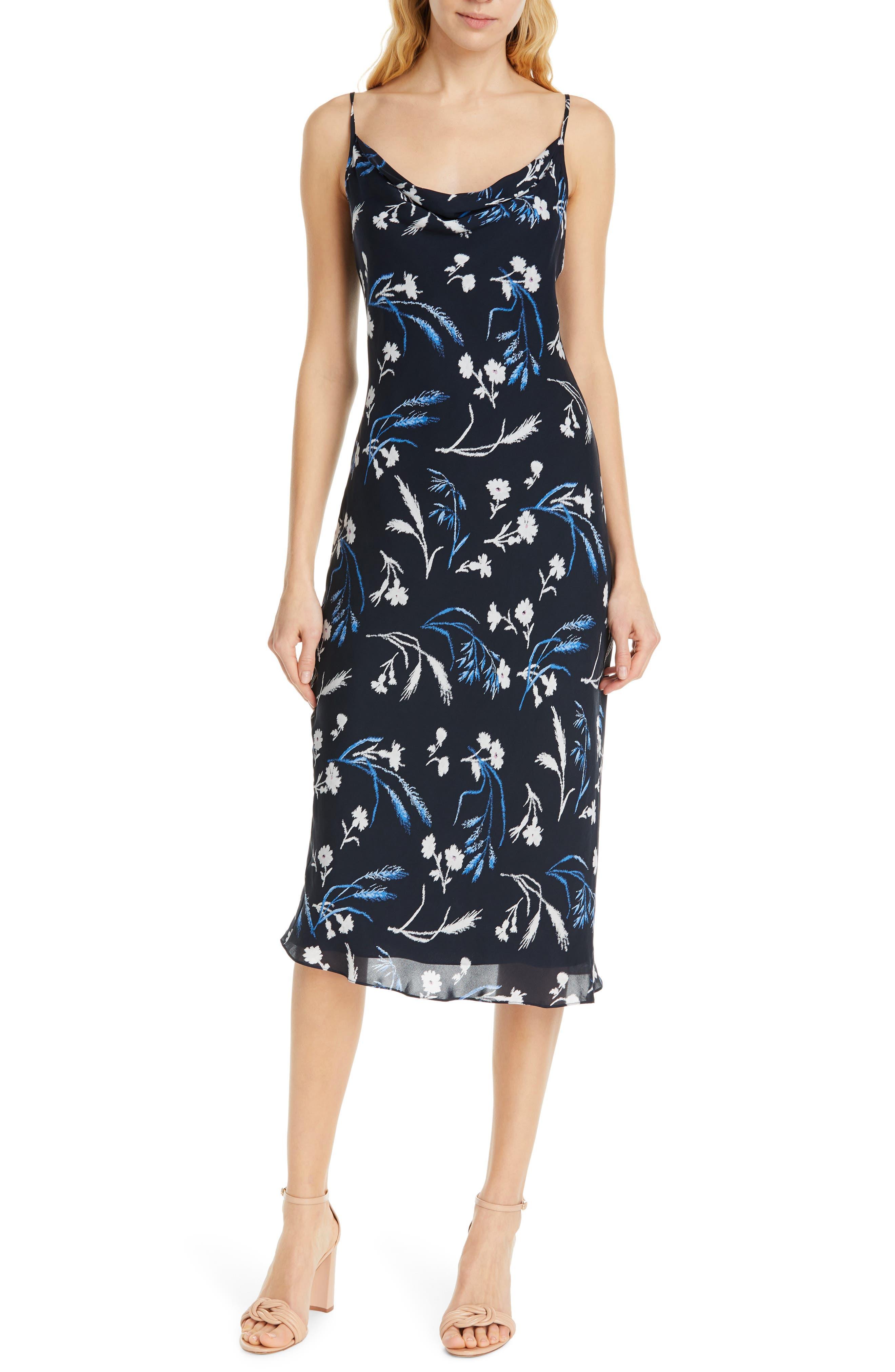 Joie Marcenna Cowl Neck Silk Slipdress, Blue