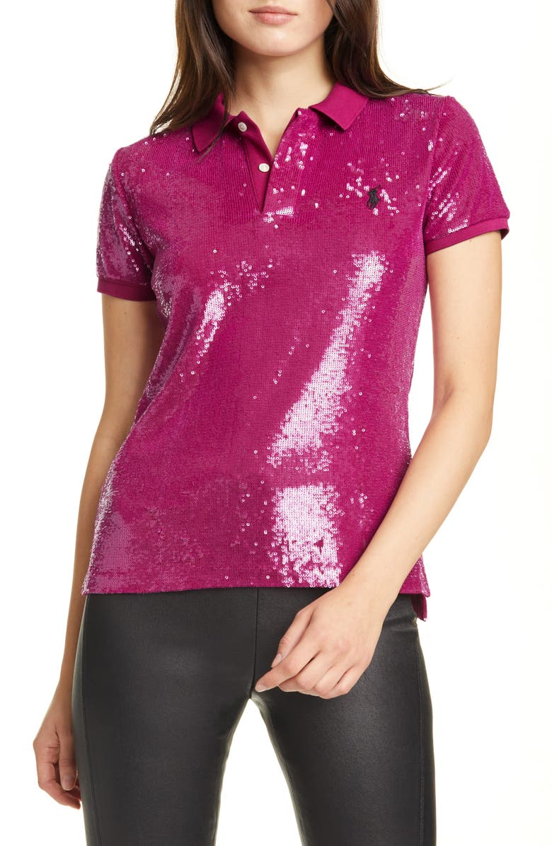 POLO RALPH LAUREN Sequin Polo Shirt, Main, color, FUCHSIA BERRY