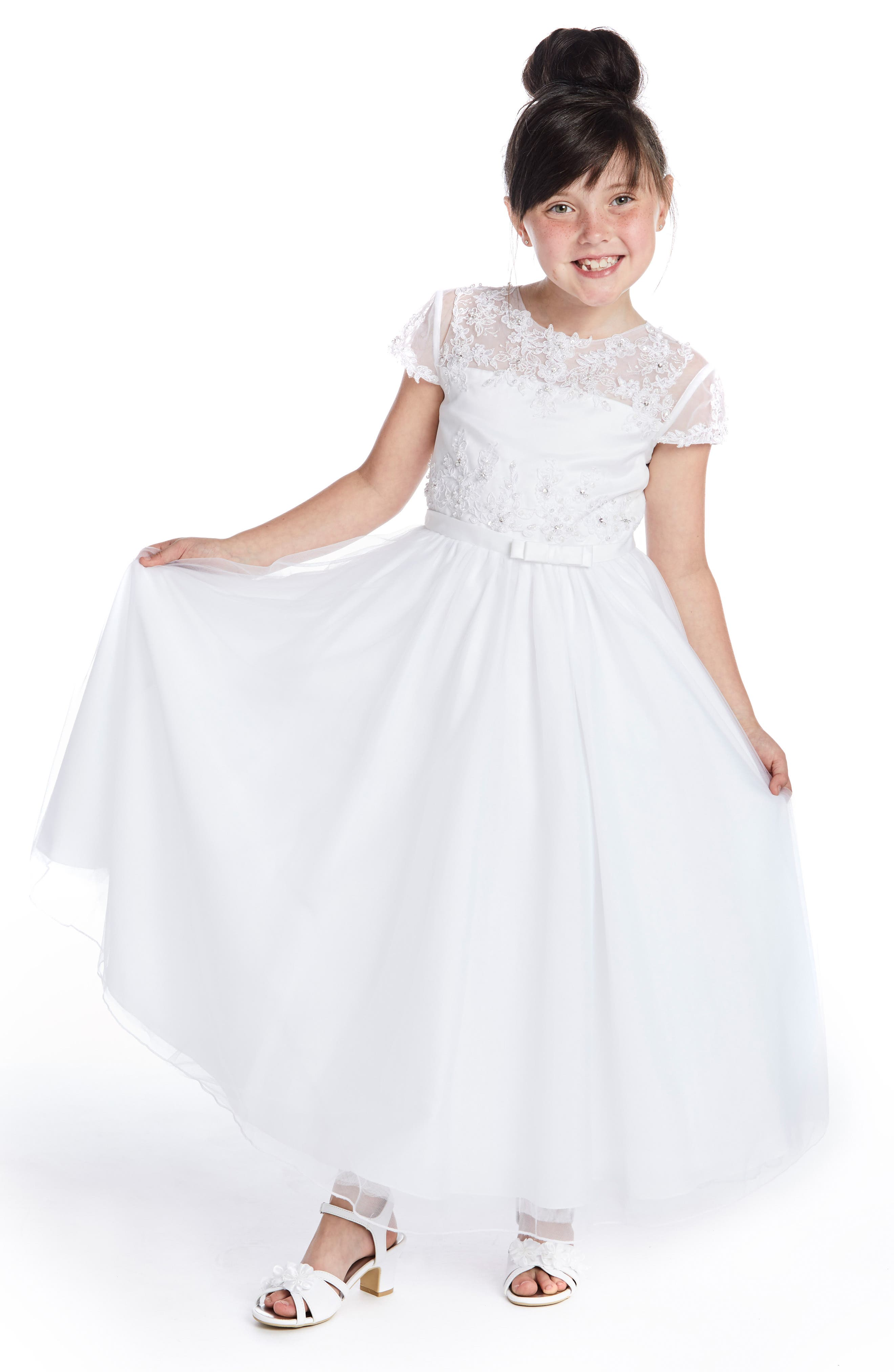 ,                             Beaded Lace Bodice First Communion Dress,                             Alternate thumbnail 6, color,                             WHITE