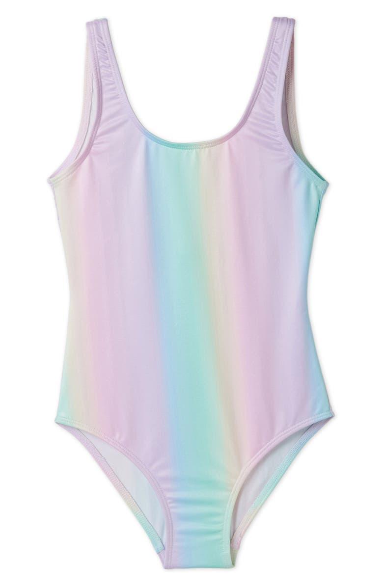 STELLA COVE Pastel Rainbow One-Piece Swimsuit, Main, color, MULTICOLOR