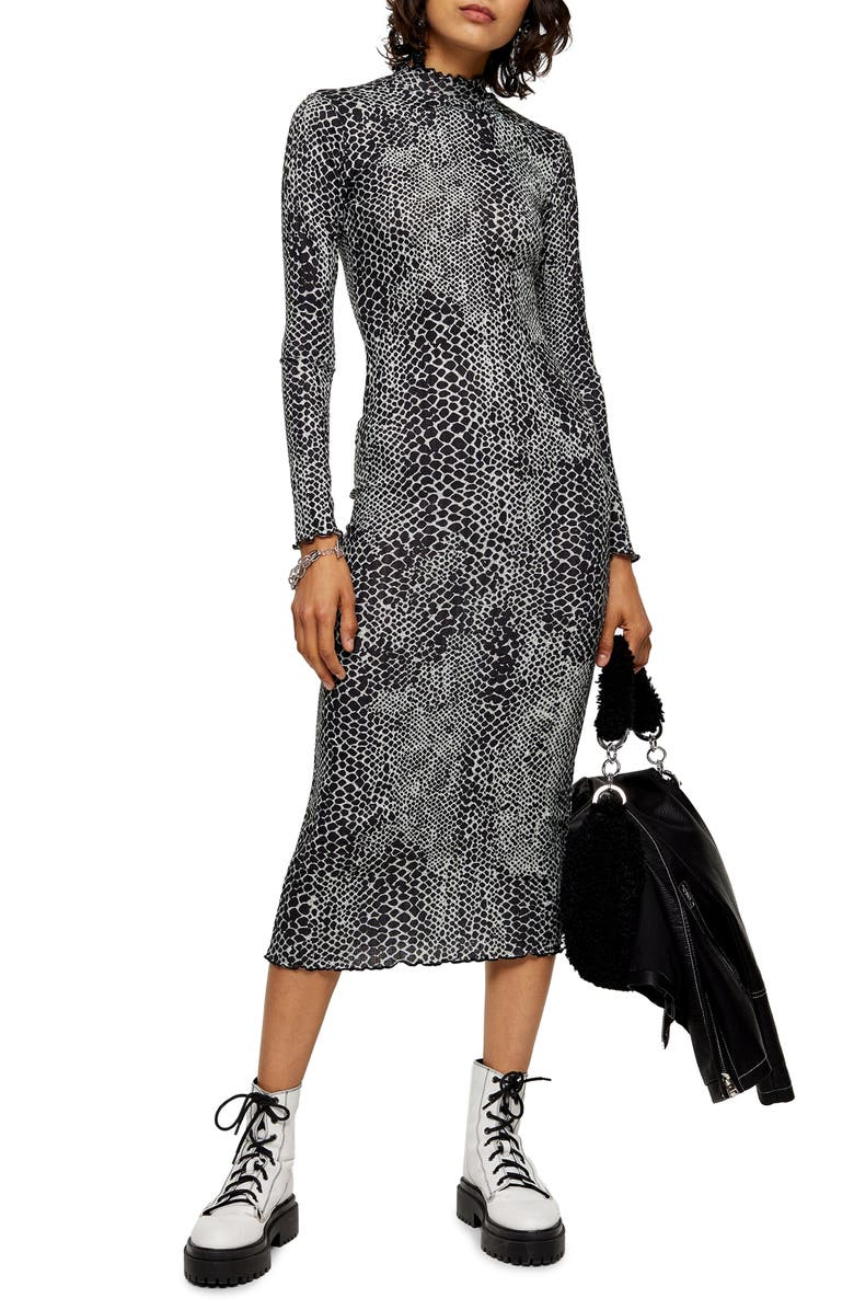 TOPSHOP Cut And Sew Animal Print Long Sleeve Midi Dress, Main, color, BLACK MULTI