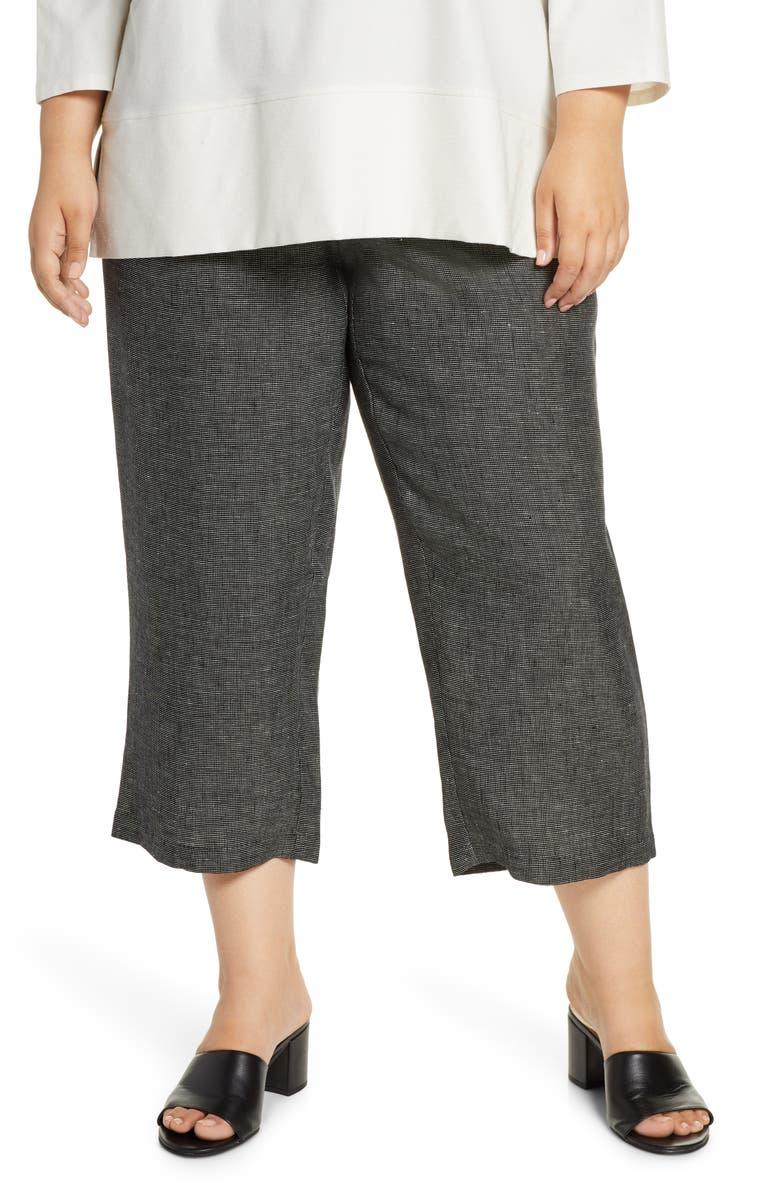 EILEEN FISHER Organic Linen Blend Straight Leg Crop Pants, Main, color, BLACK
