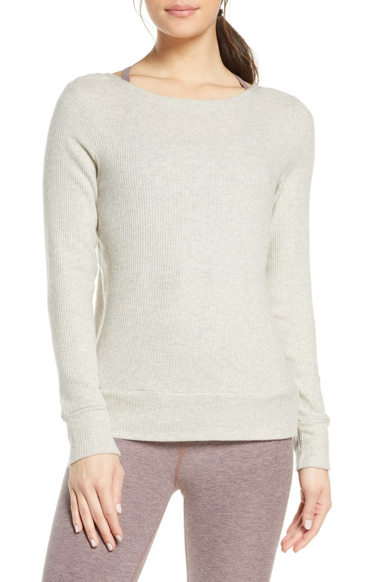 BEYOND YOGA In Line Reversible Ribbed Pullover, Main, color, 260