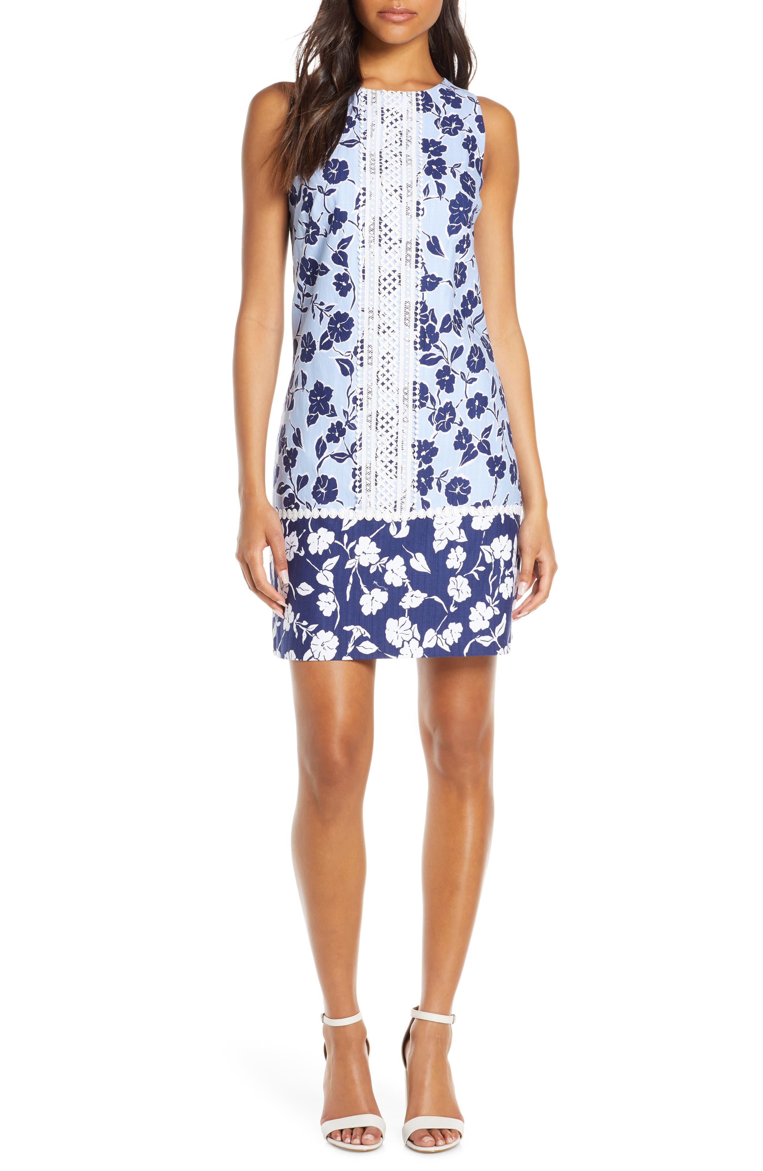 Eliza J Sleeveless Lace Trim Floral Shift Dress, Blue