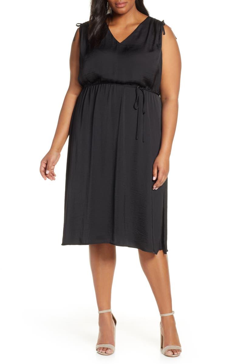 VINCE CAMUTO Tie Shoulder Dress, Main, color, RICH BLACK