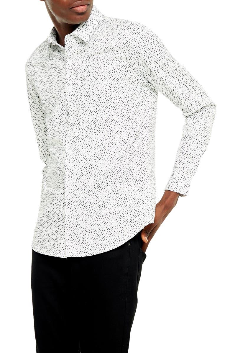 TOPMAN Classic Fit Button-Up Shirt, Main, color, CREAM MULTI