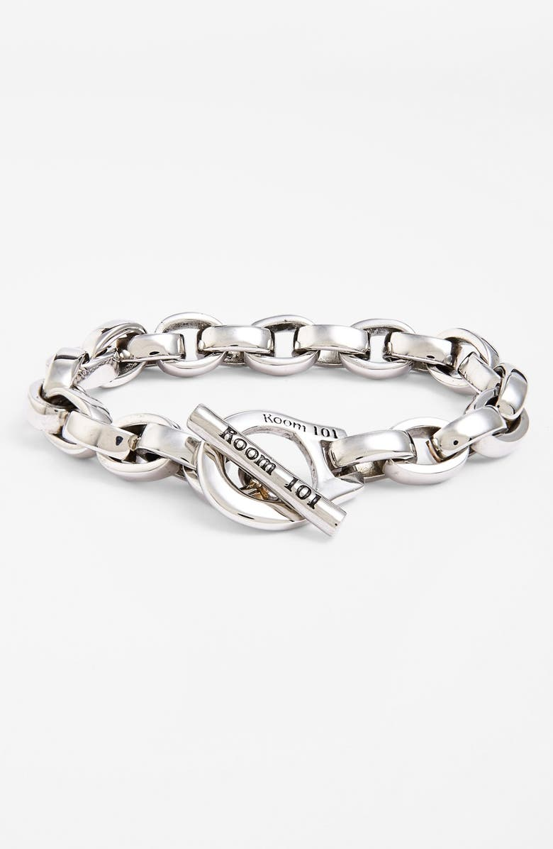 ROOM101 Room 101 'Eddie' Stainless Steel Chain Link Bracelet, Main, color, STERLING SILVER