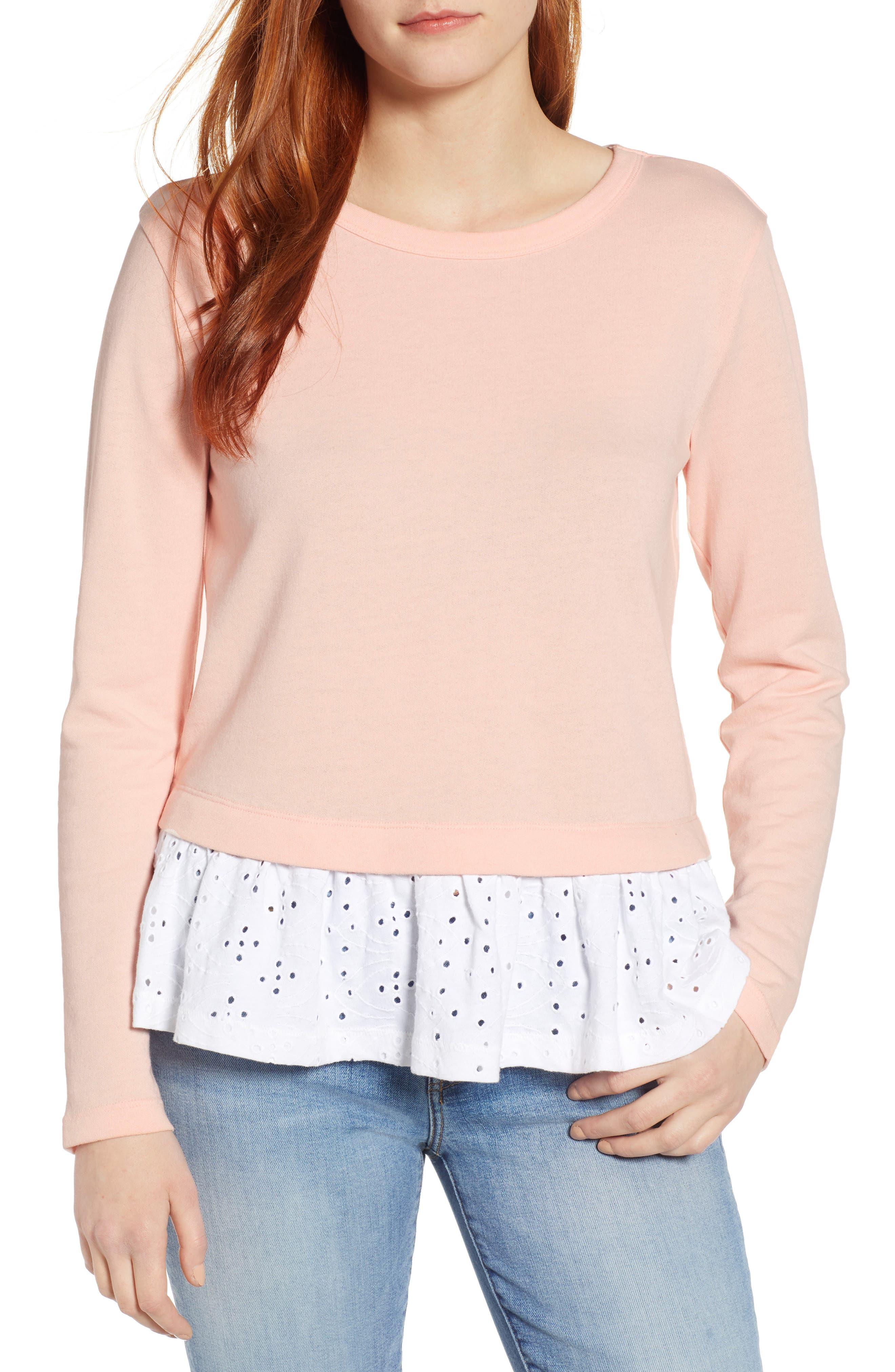 ,                             Eyelet Peplum Sweatshirt,                             Main thumbnail 1, color,                             PINK- WHITE