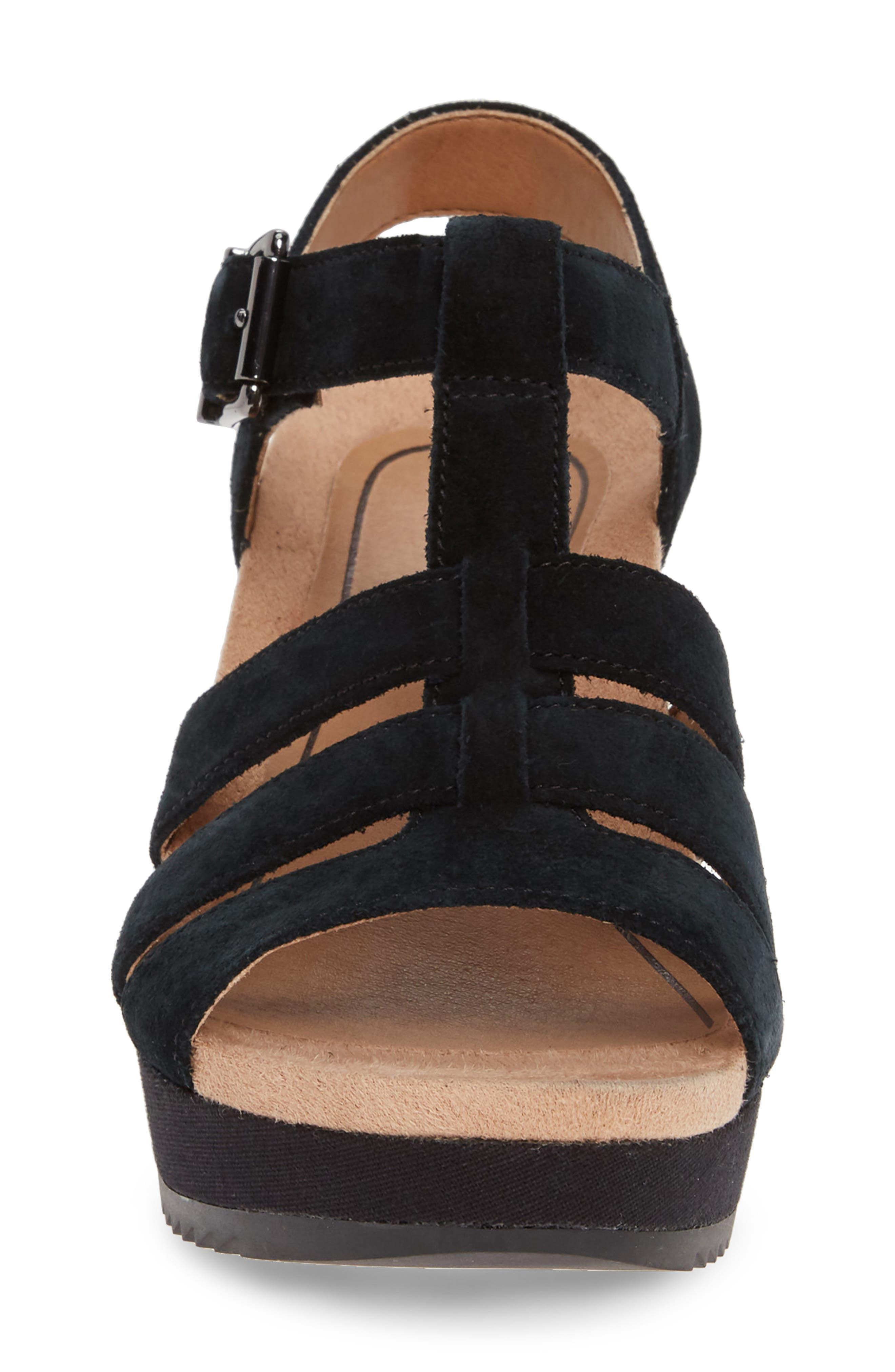,                             Tawny Wedge Sandal,                             Alternate thumbnail 4, color,                             BLACK CANVAS