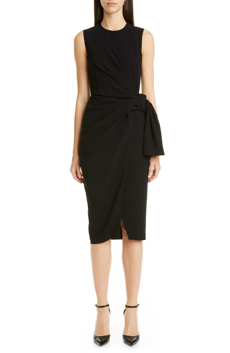 ALTUZARRA Sleeveless Drape Knot Pencil Dress, Main, color, BLACK