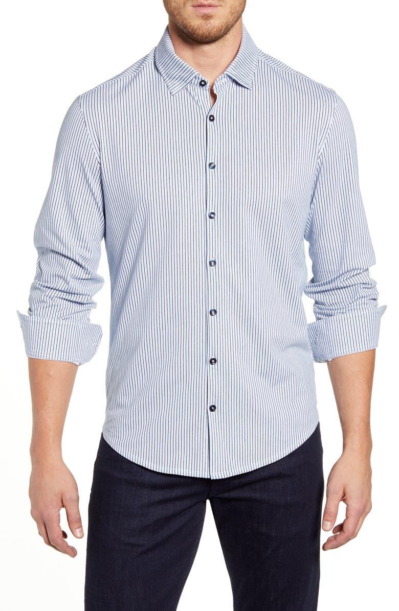 STONE ROSE Regular Fit Stripe Button-Up Performance Shirt, Main, color, LIGHT BLUE