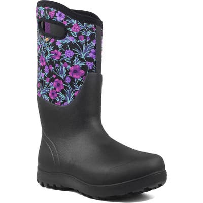 Bogs Neo Classic Tall Vine Floral Waterproof Rain Boot, Black