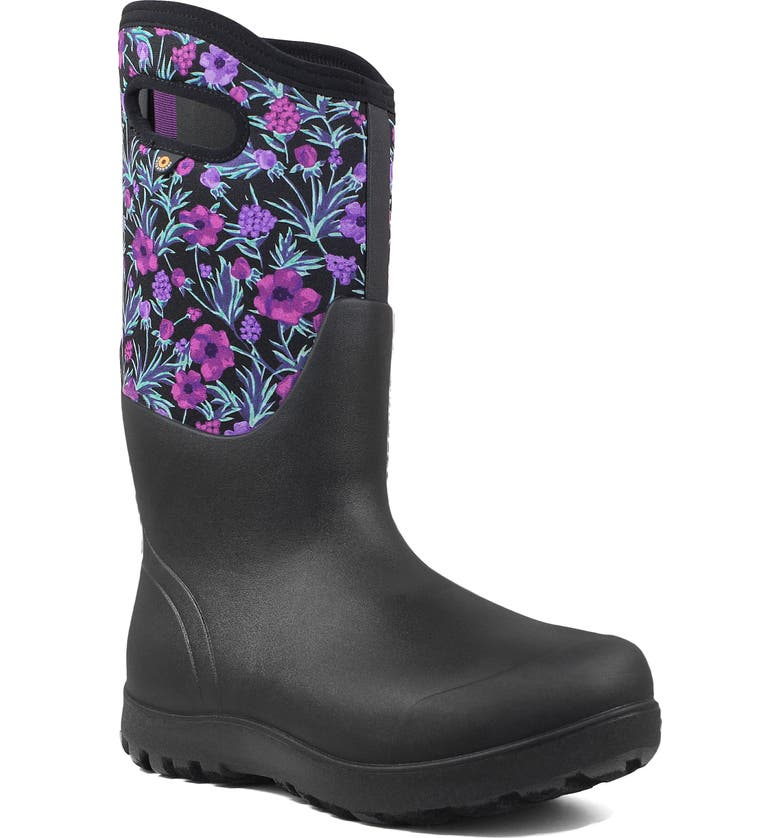BOGS Neo Classic Tall Vine Floral Waterproof Rain Boot, Main, color, BLACK MULTICOLOR