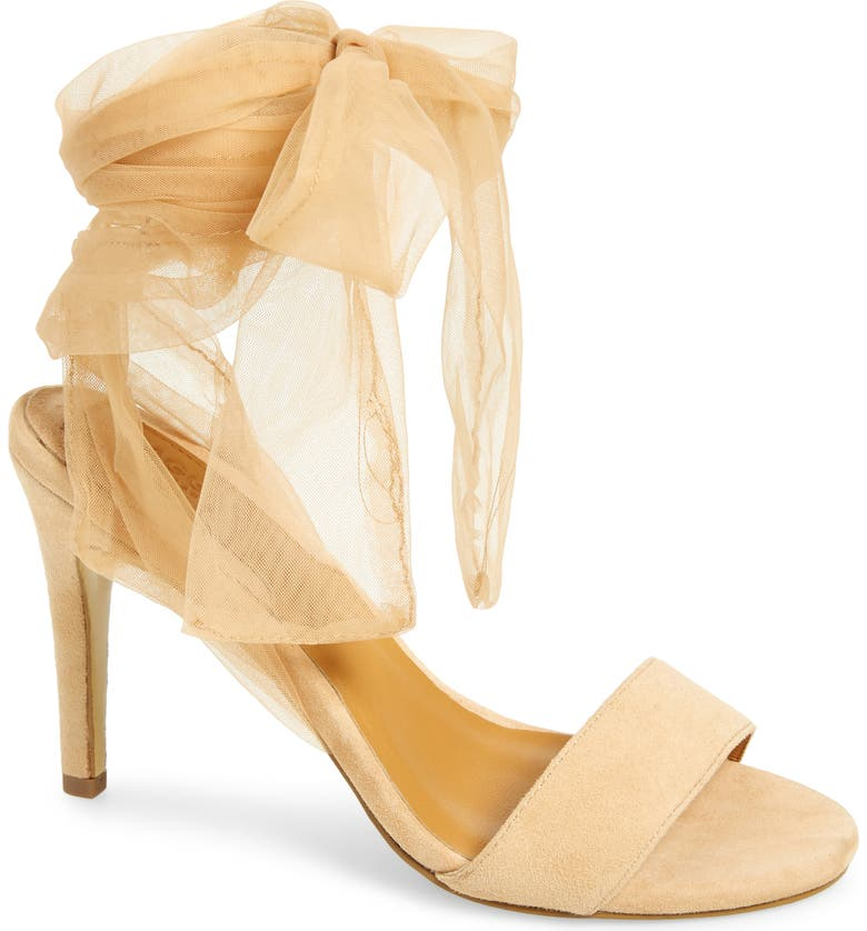 JAGGAR Aura Tulle Ankle Strap Sandal, Main, color, AMBERLIGHT LEATHER
