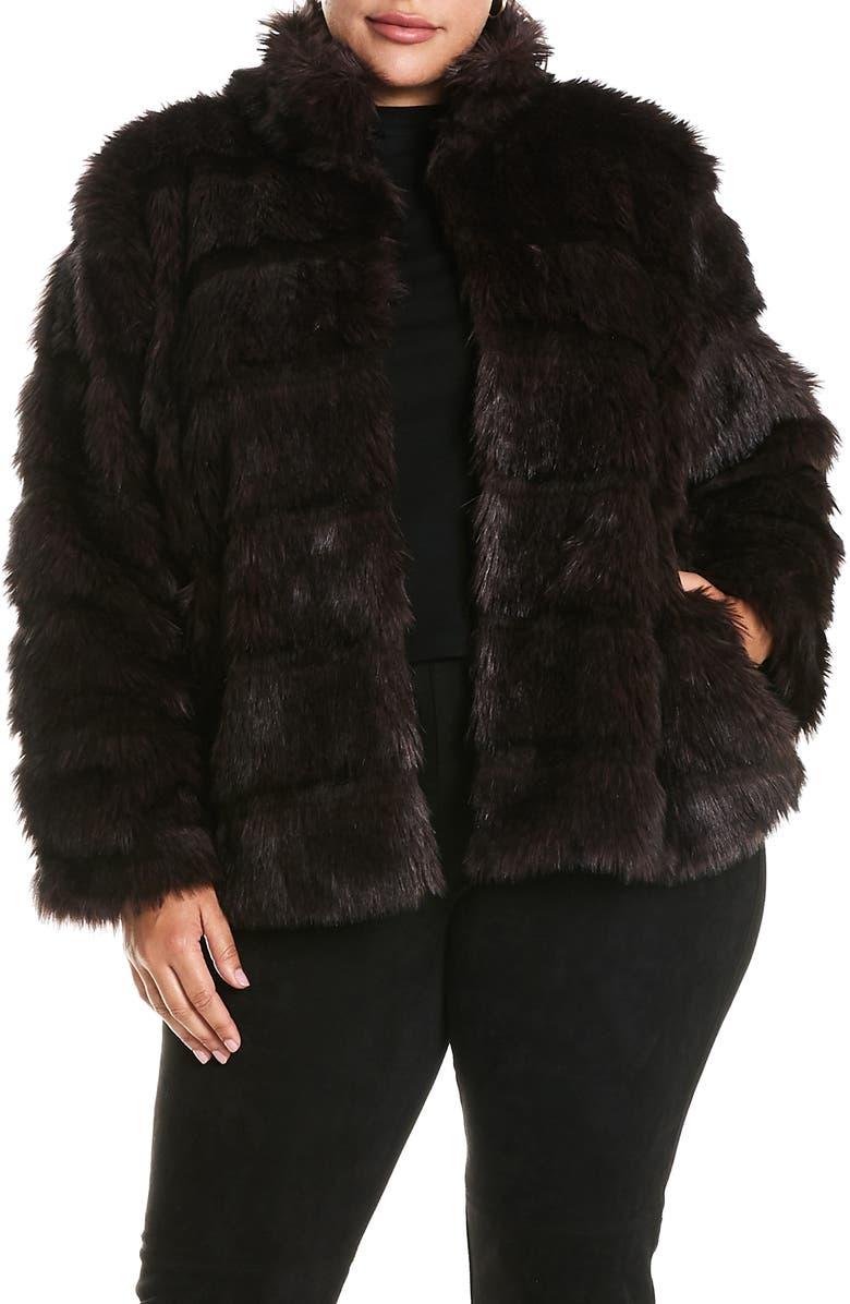 ESTELLE Royal Faux Fur Jacket, Main, color, CHOCOLATE