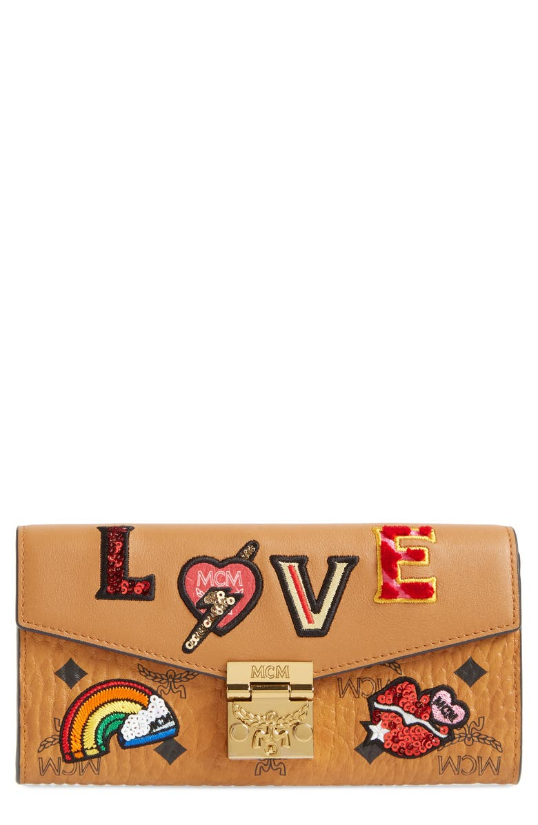 MCM Patricia Love Patch Wallet on a Chain, Main, color, COGNAC