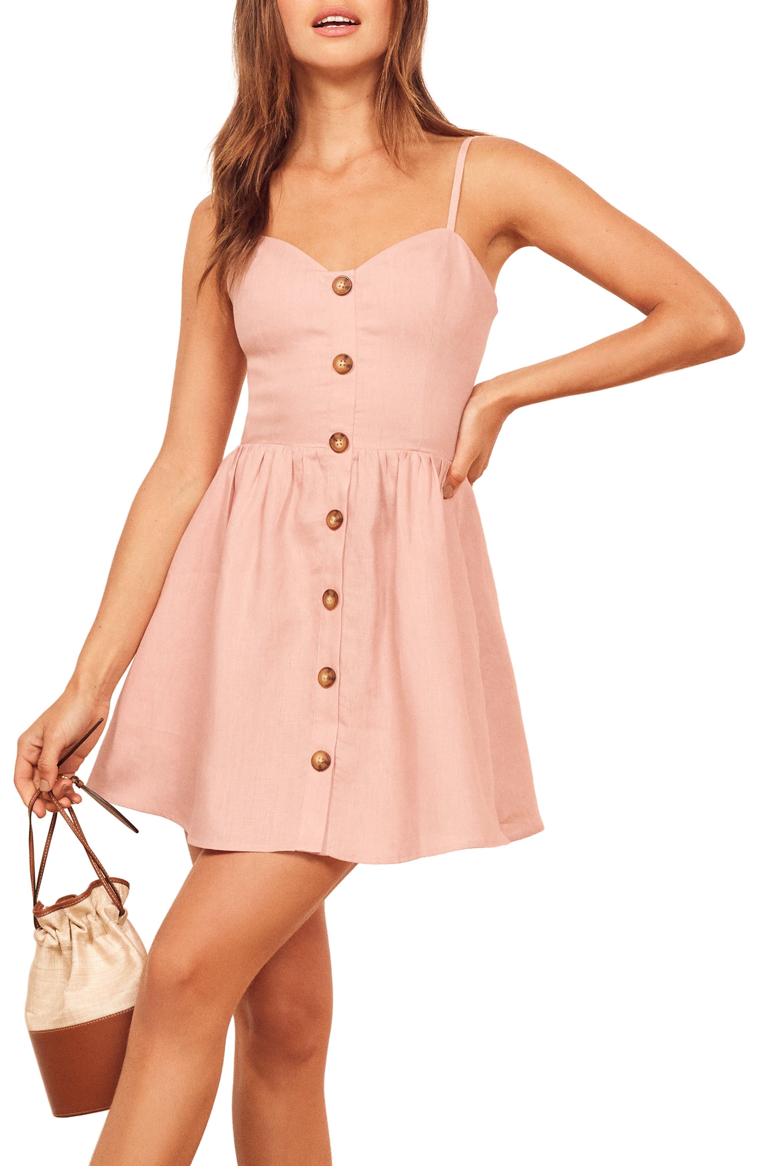 Reformation Velma Sleeveless Minidress, Pink