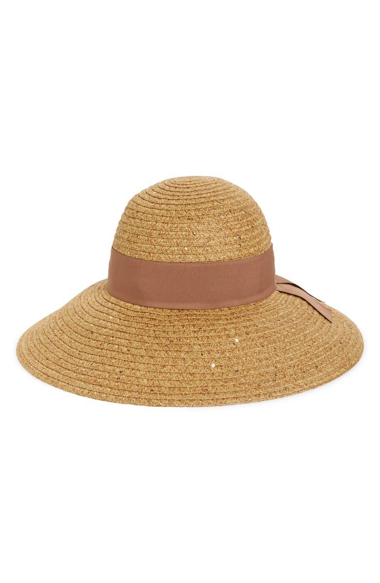 NORDSTROM Sequin Floppy Straw Hat, Main, color, 235