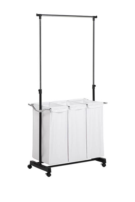 Image of Honey-Can-Do Triple Sorter Laundry Center with Hanging Bar