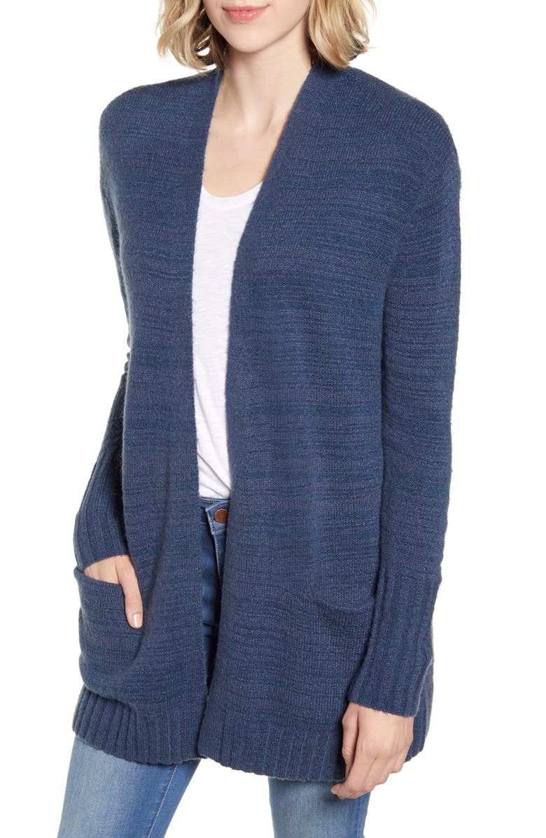 CASLON<SUP>®</SUP> Open Front Pocket Cardigan, Main, color, BLUE WING