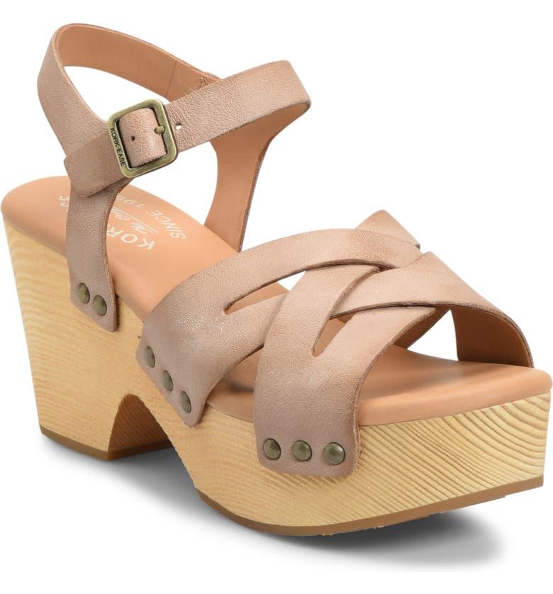 KORK-EASE<SUP>®</SUP> Wausau Platform Sandal, Main, color, NATURAL LEATHER