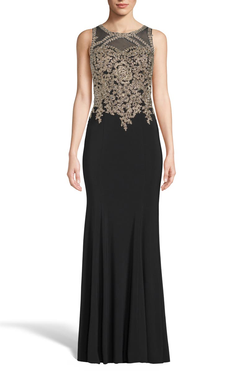 XSCAPE Golden Embroidered Bodice Evening Dress, Main, color, 001