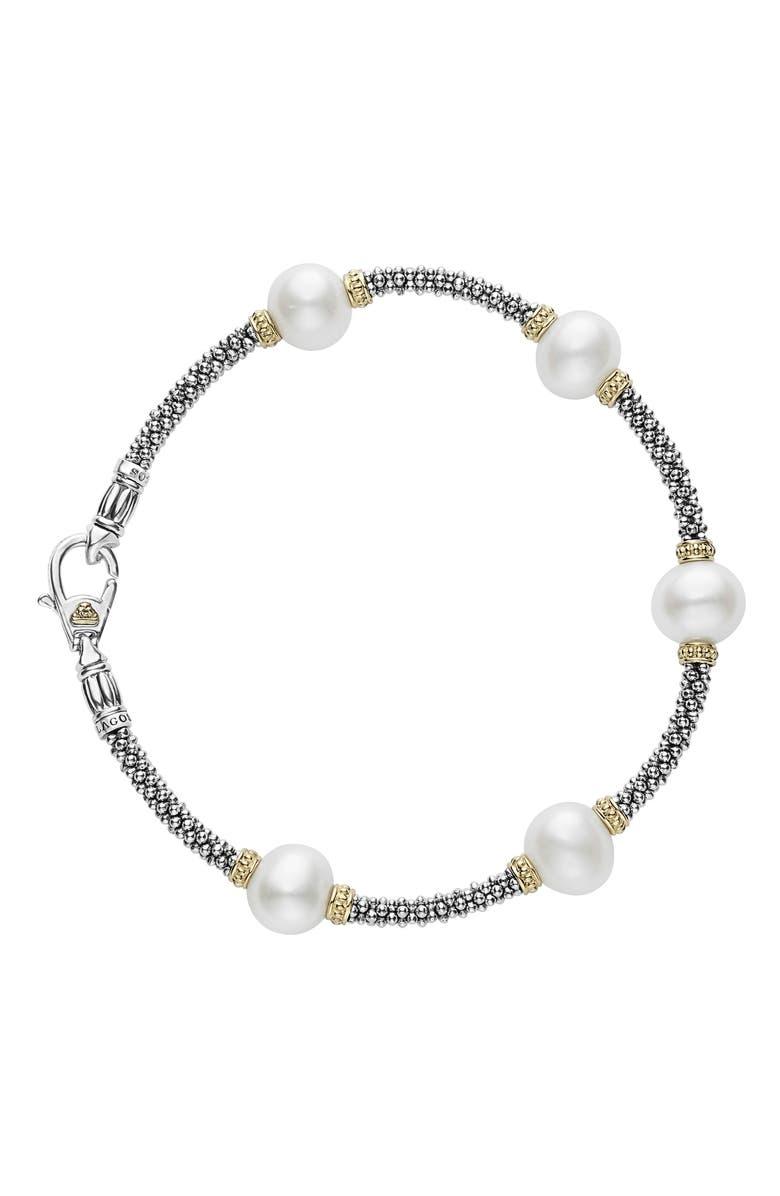 LAGOS Luna Pearl Rope Bracelet, Main, color, SILVER