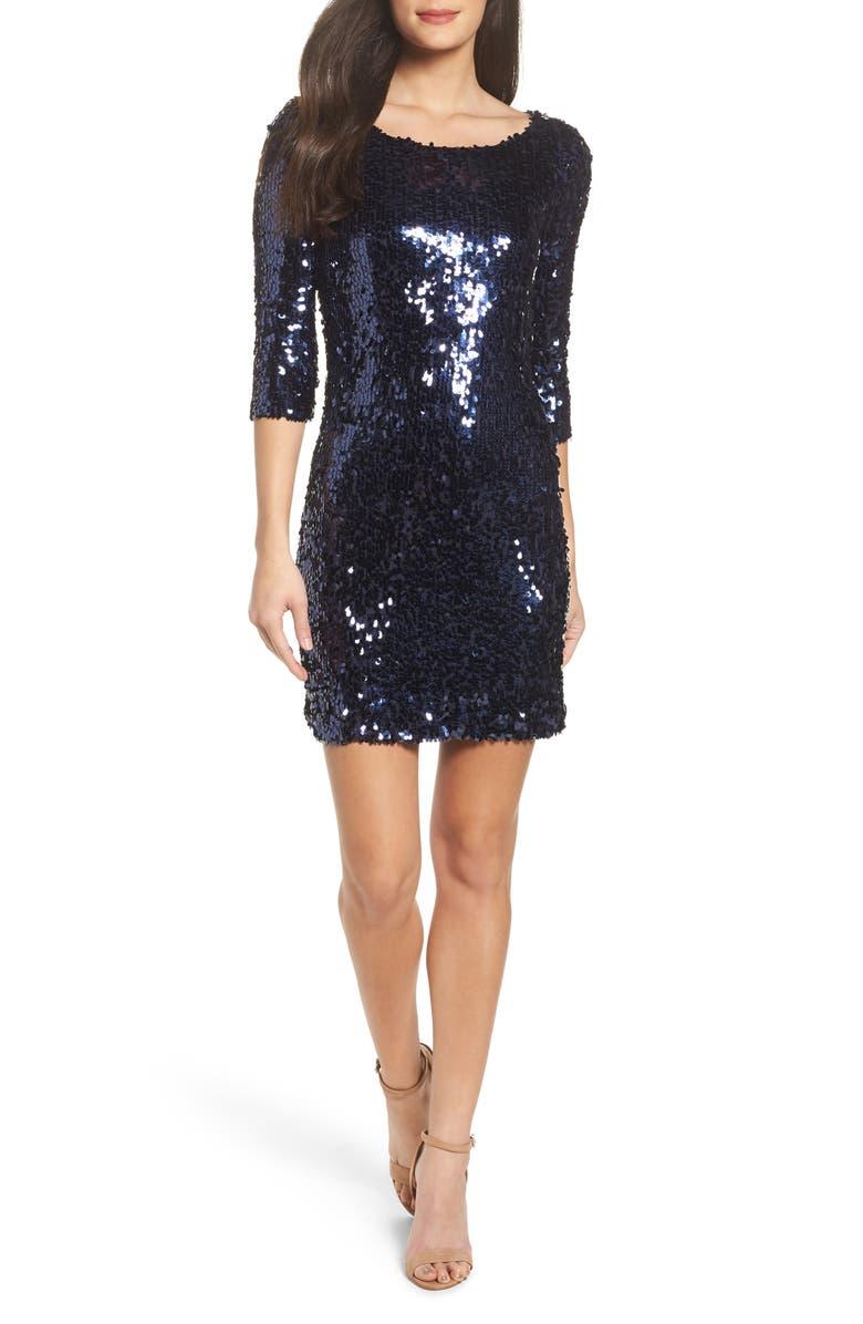 BB DAKOTA Leila Sequin Sheath Dress, Main, color, 418