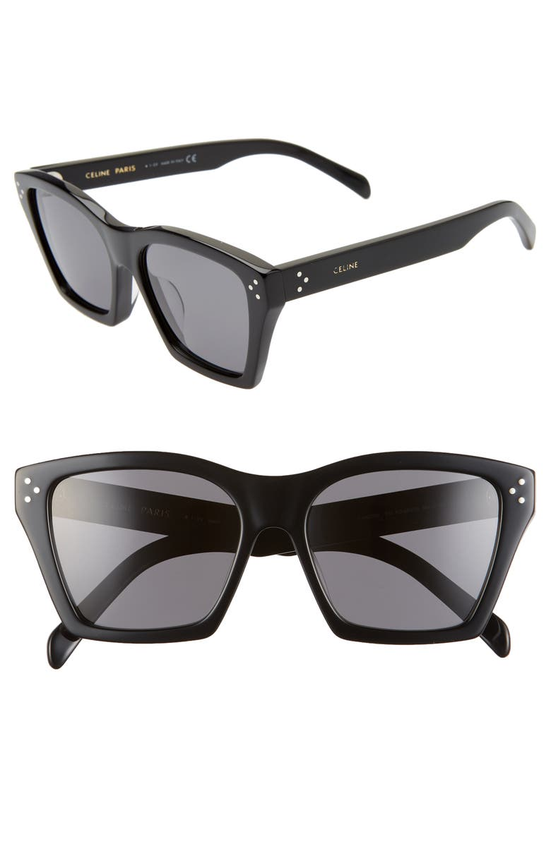CELINE Adjusted Fit 56mm Cat Eye Sunglasses, Main, color, BLACK/ SMOKE