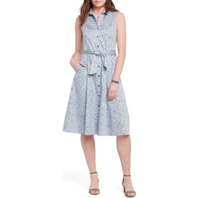 Petite Nic+Zoe Naples Belted Shirtdress, Blue