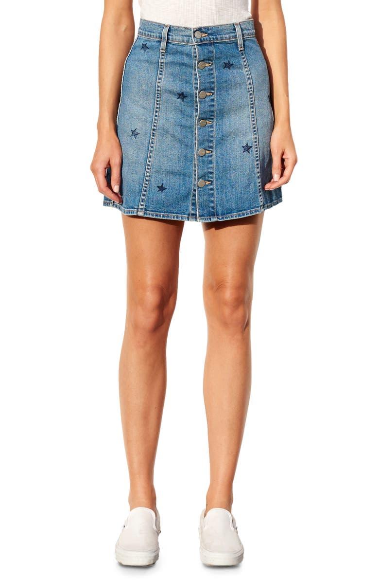 SUNDRY Stamped Stars Front Button Denim Skirt, Main, color, MEDIUM WASH