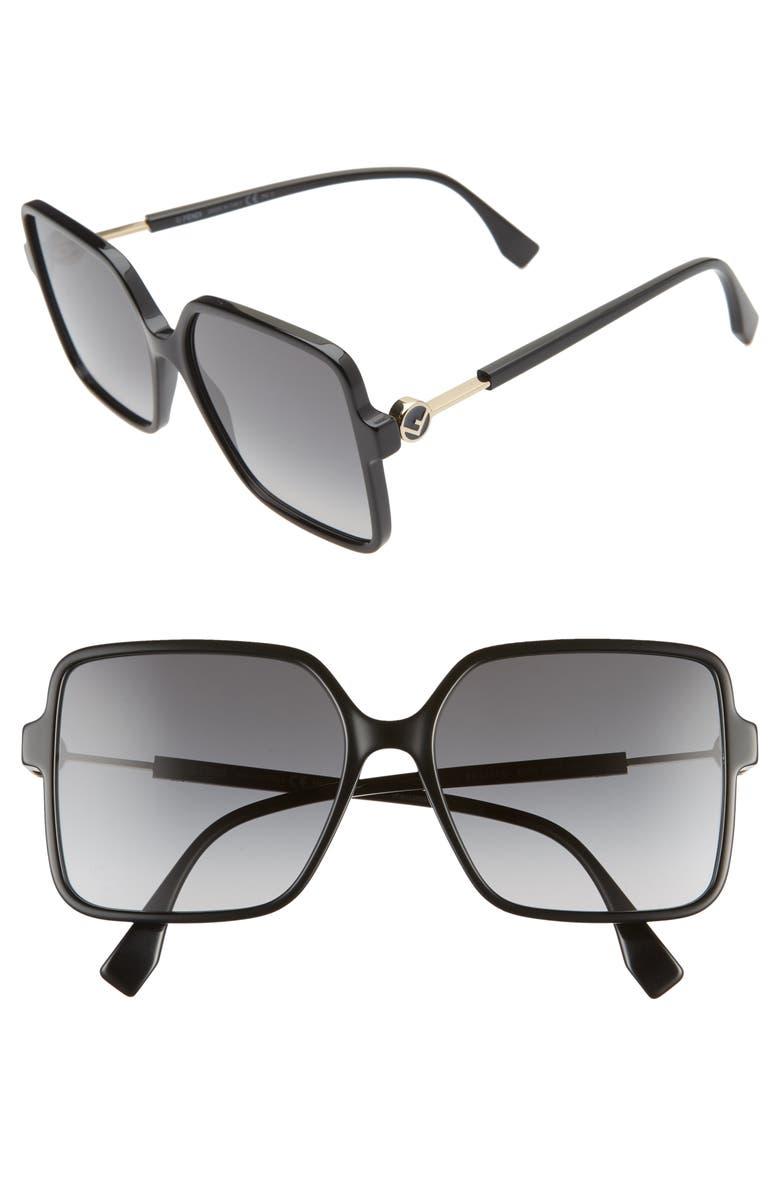 FENDI 58mm Gradient Square Sunglasses, Main, color, BLACK/ DARK GREY
