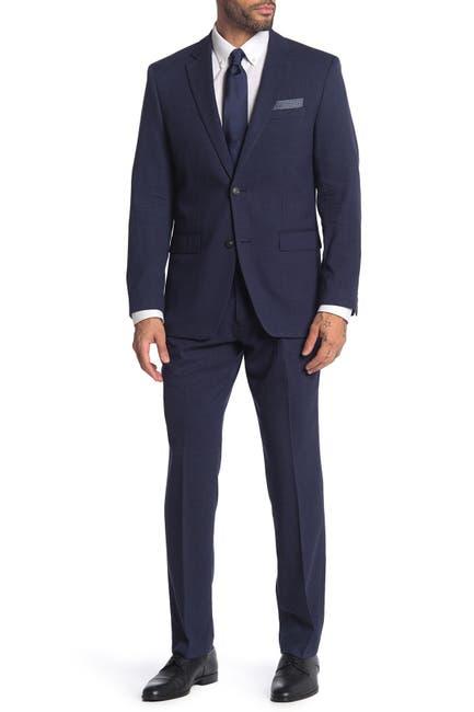 Image of Perry Ellis Blue Check Two Button Notch Lapel Slim Fit Suit