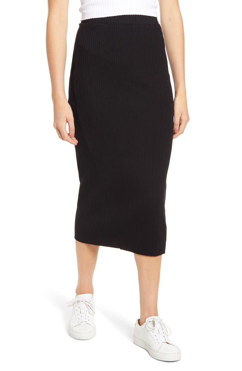 STATESIDE Heavy Rib Midi Skirt, Main, color, BLACK